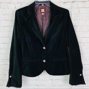 Black Velvet Rhinestone & Lace Blazer Jacket